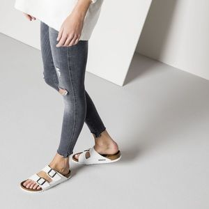 White Birkenstock Two-Strap Arizona